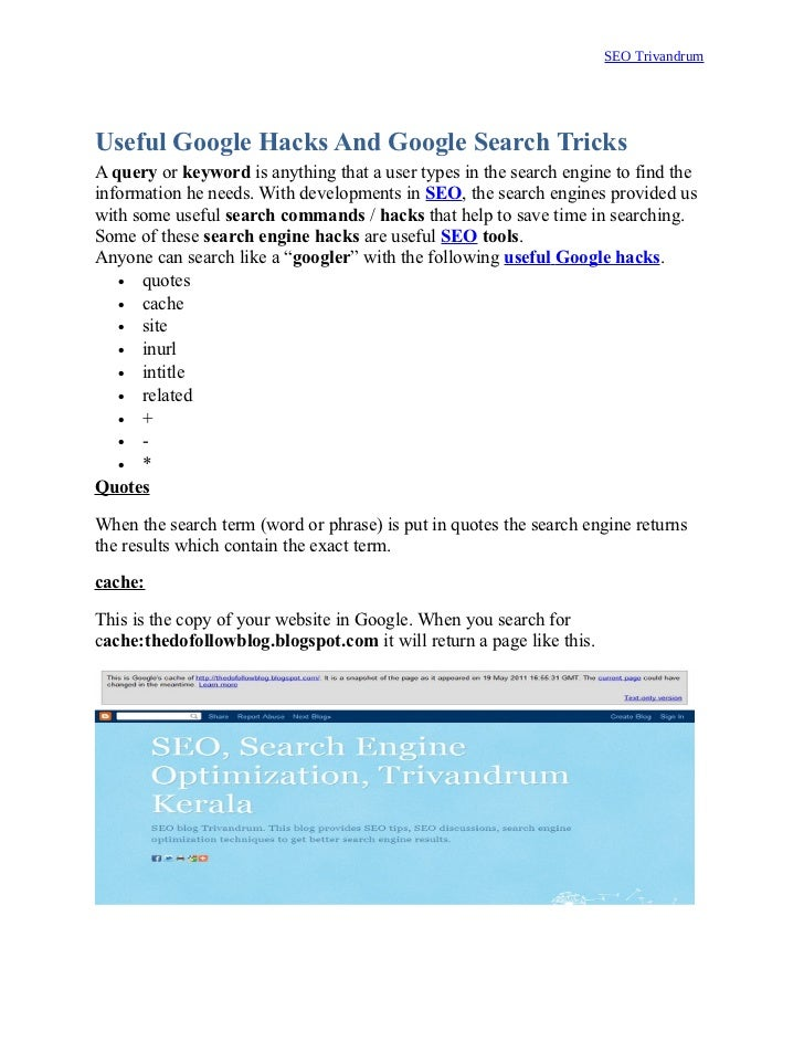 Useful Google Hacks And Google Search Tricks