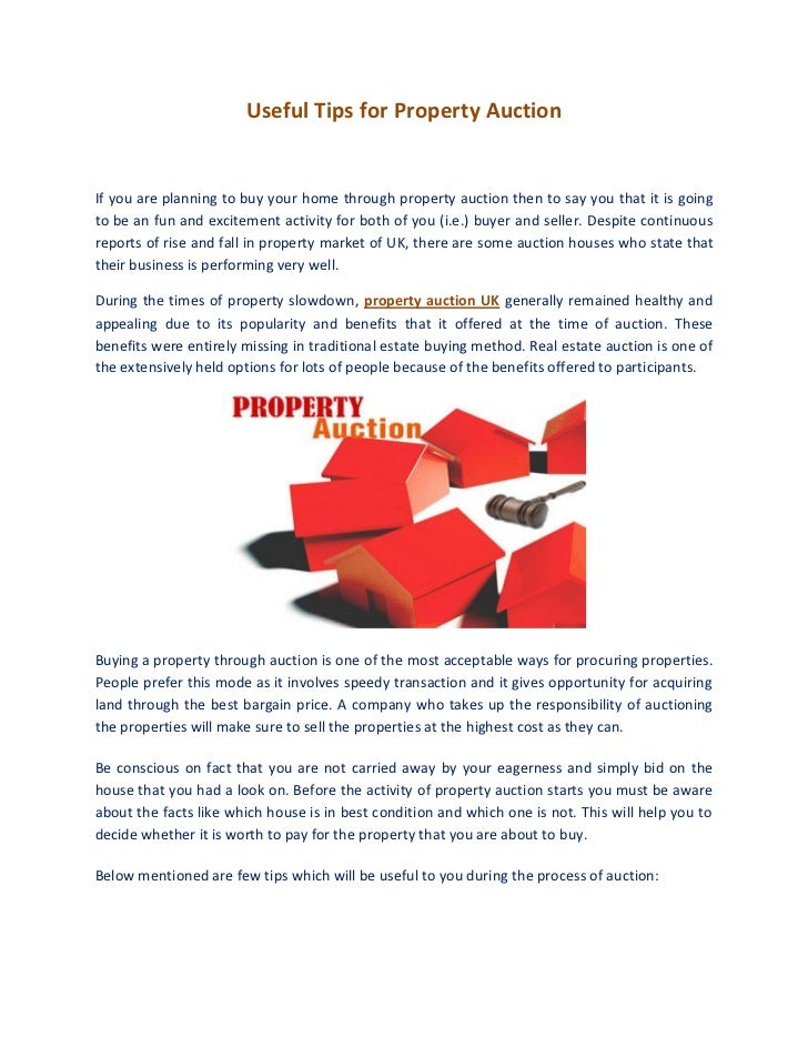 Useful tips for property auction