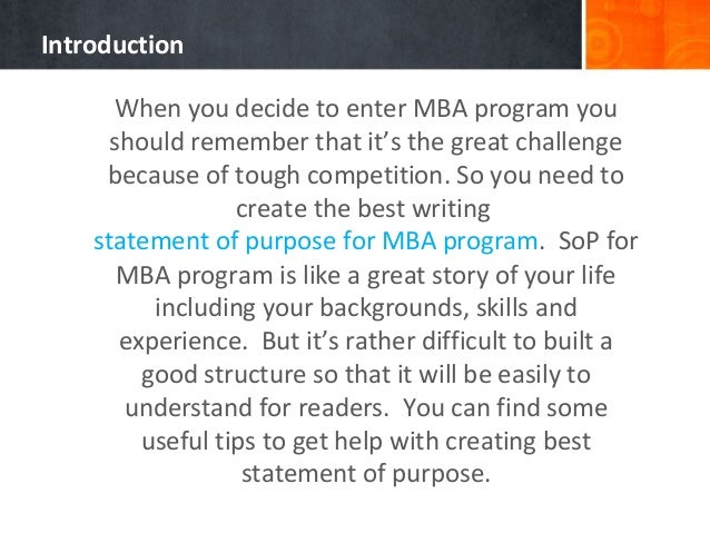 What should i write for MBA SOP?