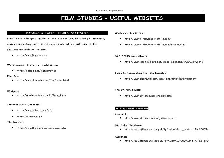 Film Studies - Useful Websites                                                                1                           ...