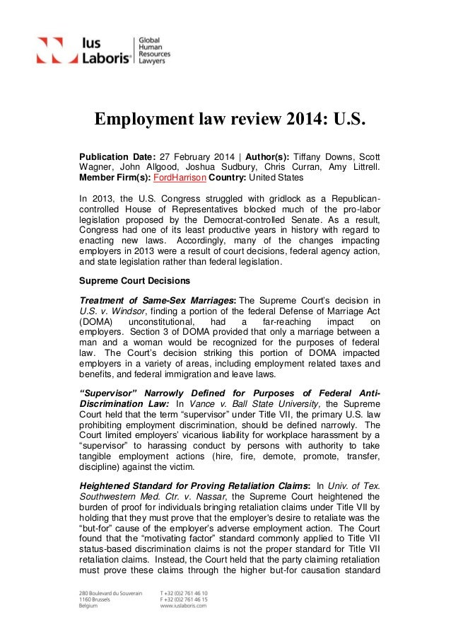 Employment Law Review 2014: U.S.