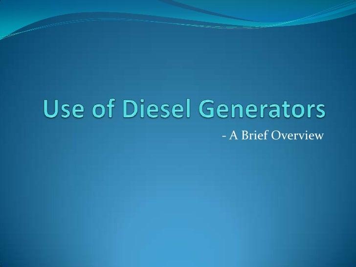 Use of Diesel Generators for Home & Industries