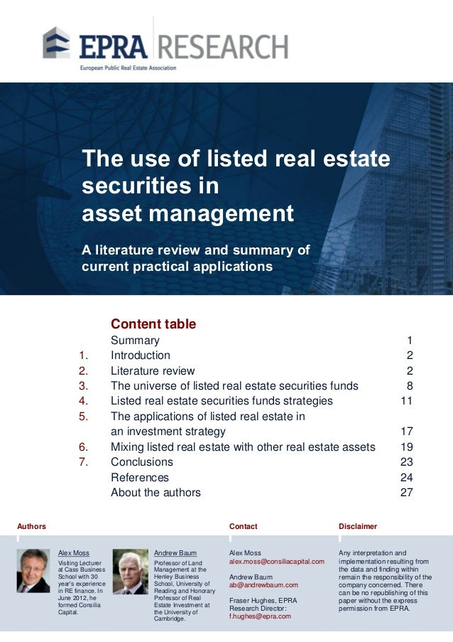 The use of listed real estate securities in asset management A literature review and summary of current practical applicat...