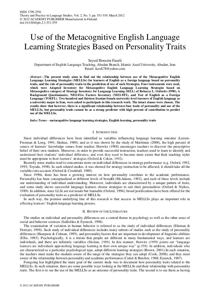 Use of the metacognitive english language learning strategies based on personality traits