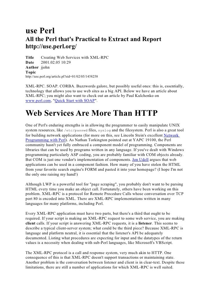 Use perl creating web services with xml rpc