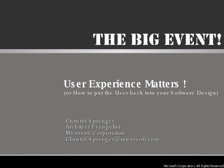 User Experience Matters - Denver Jan - shortend