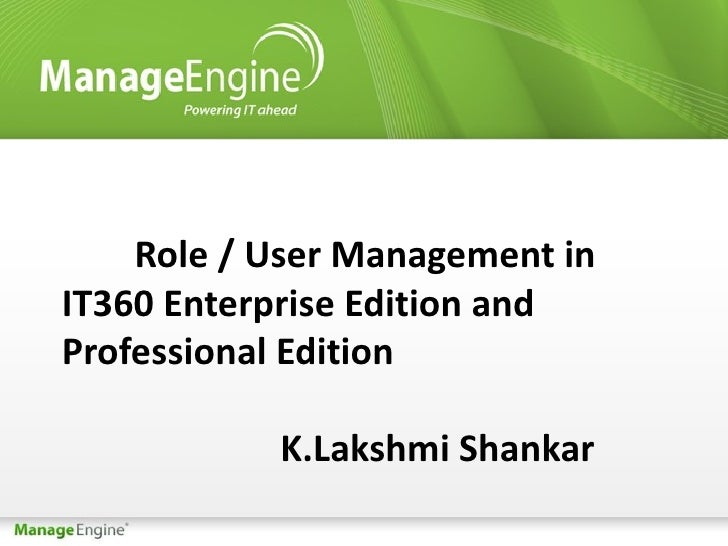 User Management and Role Management in IT360