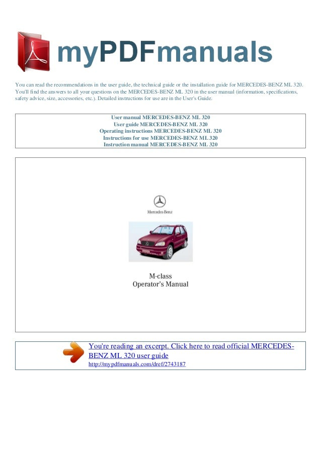 User manual mercedes benz ml 320 e for 2001 mercedes benz c320 owners manual