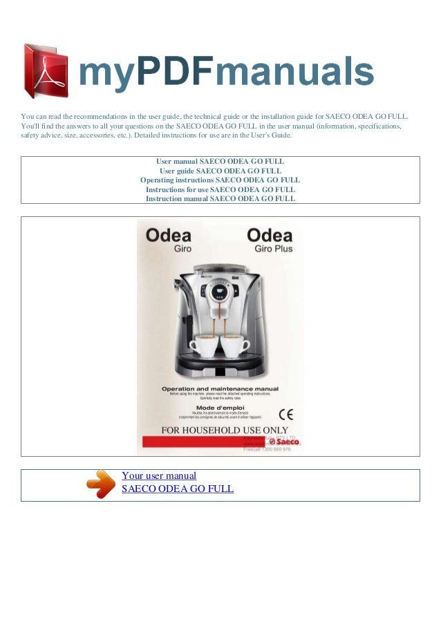 user manual saeco odea go User Manual Template User Manual PDF