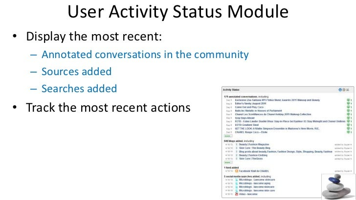 User Activity Status Module<br />Display the most recent:<br />Annotated conversations in the community<br />Sources added...
