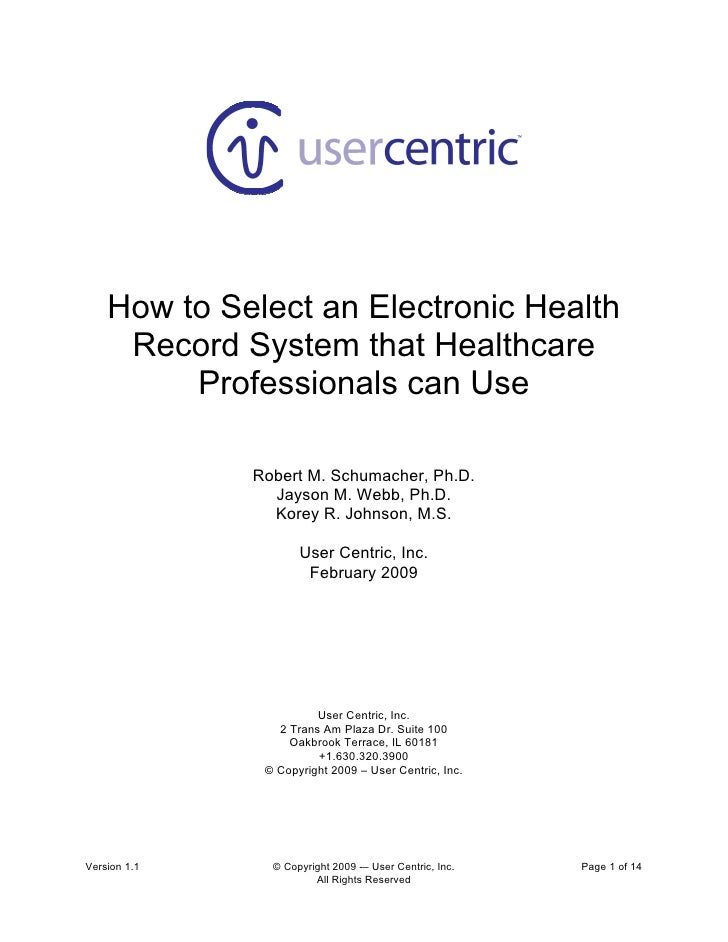 How to Select an Electronic Health Record System that Healthcare Professionals can Use