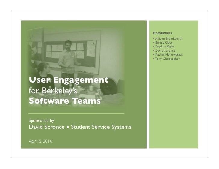 User Engagement for Software Teams
