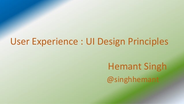 Usere xperience designprinciples