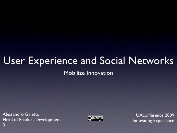 User Experience and Social Networks