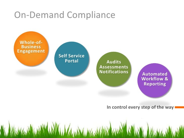 On-Demand Compliance<br />Audits Assessments<br />Notifications<br />Automated Workflow & <br />Reporting<br />Whole-of-<b...