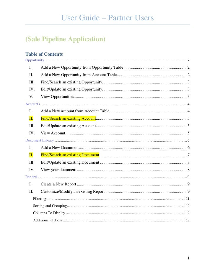 User Guide – Partner Users(Sale Pipeline Application)Table of ContentsOpportunity ...........................................
