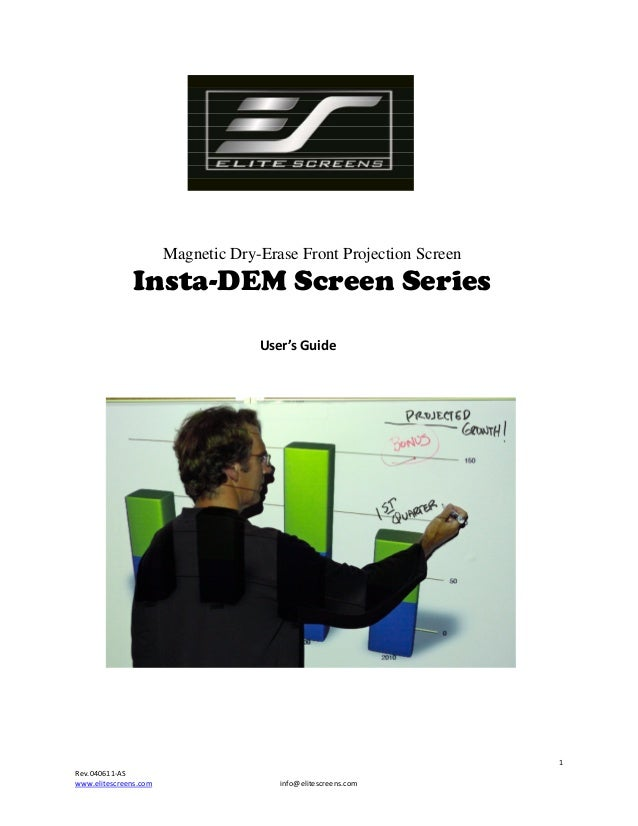 Magnetic  Dry-Erase Front Projection Screen  Insta-DEM Screen Series ...