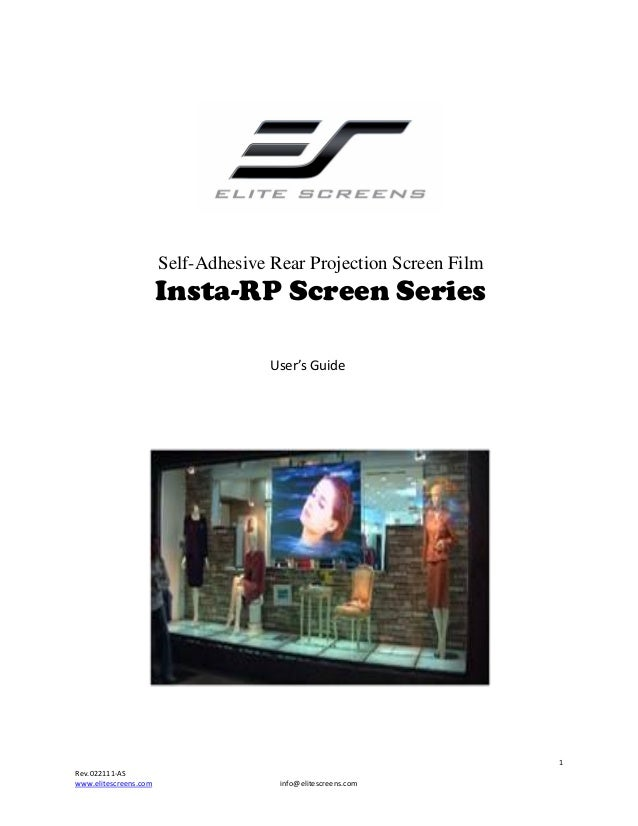 Self-Adhesive Rear Projection Screen Film  Insta-RP Screen Serie...