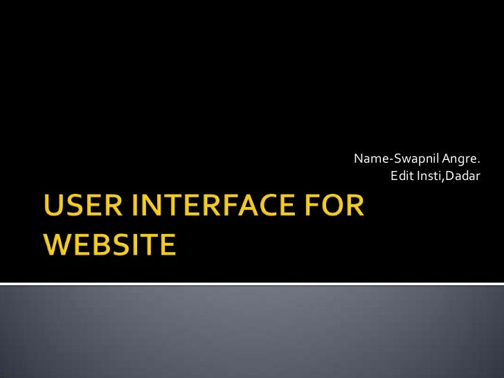 User interface for web design.