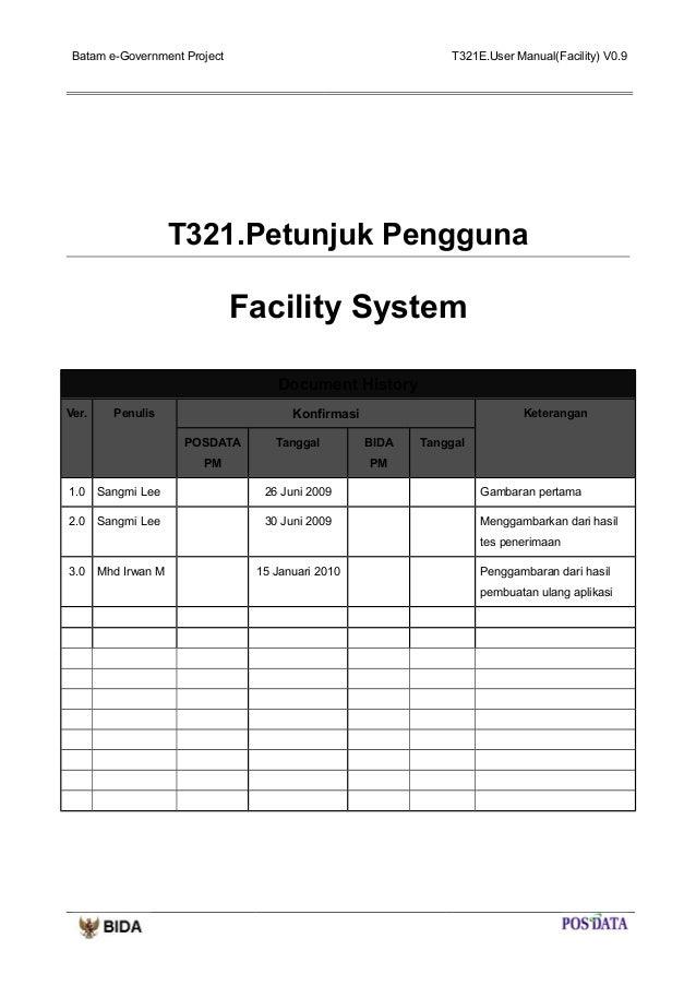 User manual facility system
