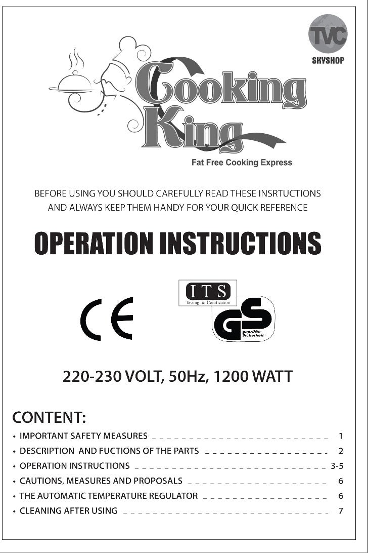 User Manual for Cooking King