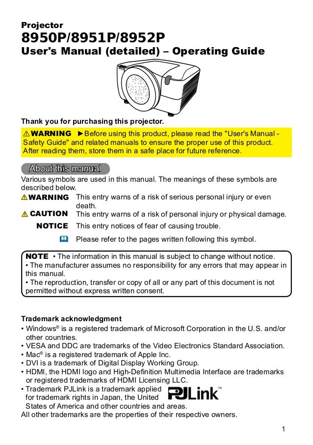 Projector  8950P/8951P/8952P  User's Manual (detailed) – Operating Guide  Thank you for purchasing this projector. WARNING...