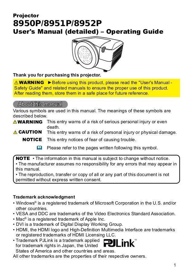User manual for dukan 895x projectors