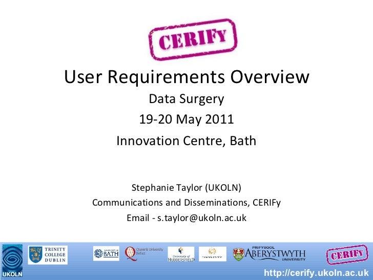 User Requirements Overview <ul><li>Data Surgery </li></ul><ul><li>19-20 May 2011 </li></ul><ul><li>Innovation Centre, Bath...