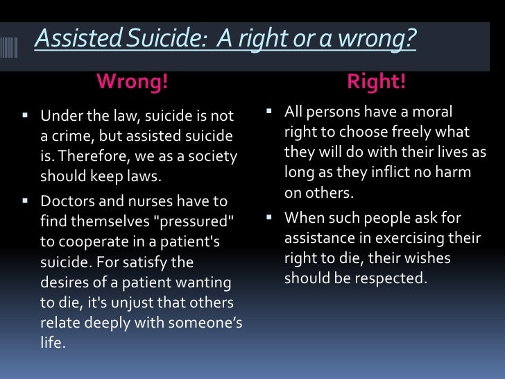 assisted suicide is wrong essay The argument is also that assisted suicide is also wrong morally because if you are the original writer of this essay and no longer wish to have the essay.