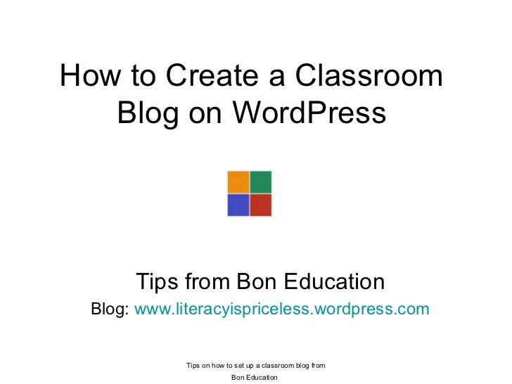 How to create a classroom blog on WordPress