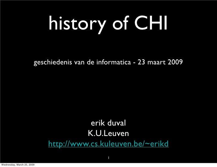History of CHI (Human-Computer Interaction)
