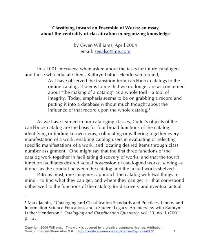 Classifying toward an Ensemble of Works: an essay           about the centrality of classification in organizing knowledge ...