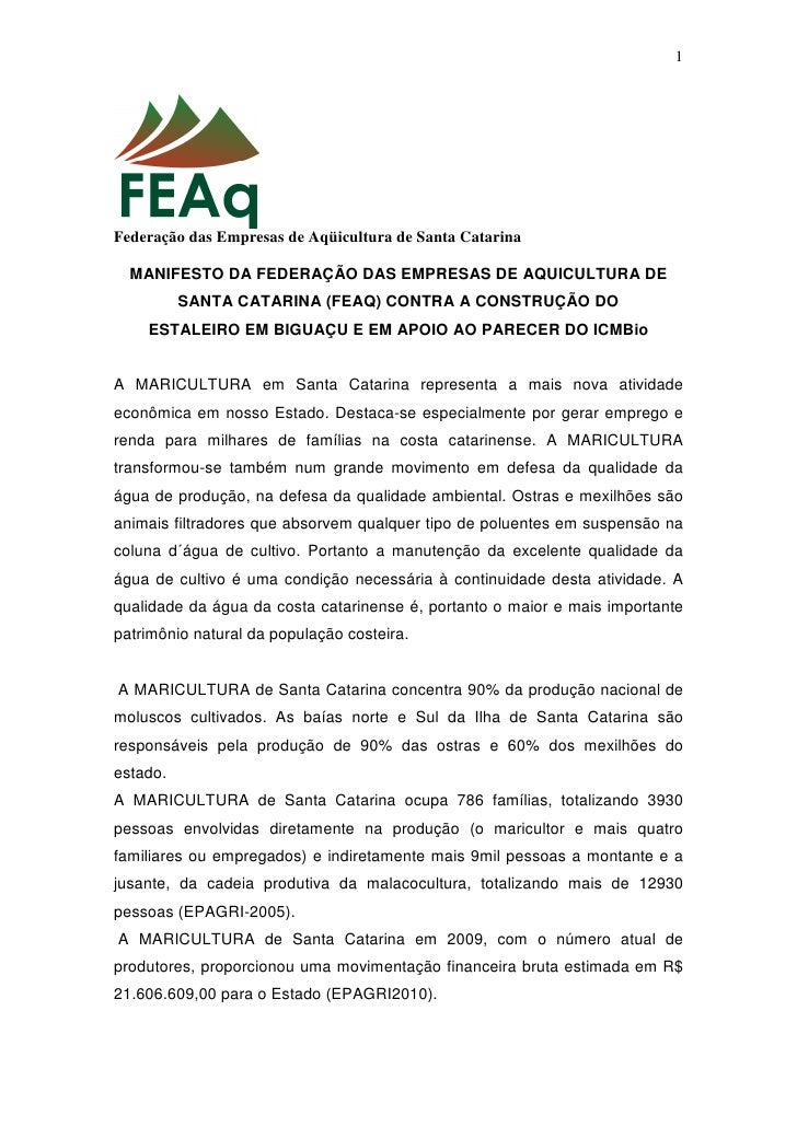 1     Federação das Empresas de Aqüicultura de Santa Catarina    MANIFESTO DA FEDERAÇÃO DAS EMPRESAS DE AQUICULTURA DE    ...