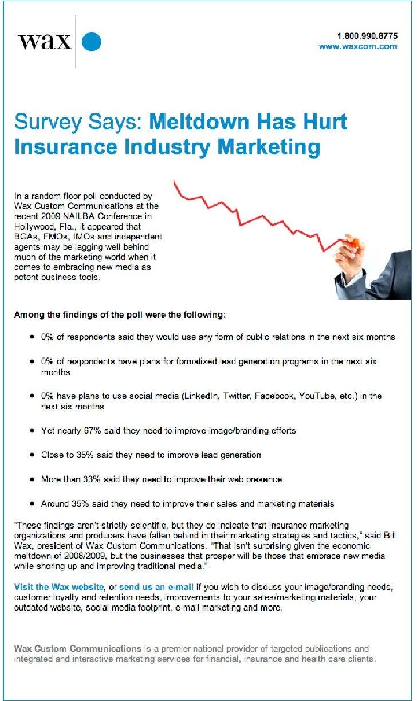 Meltdown Has Hurt Insurance Industry Marketing