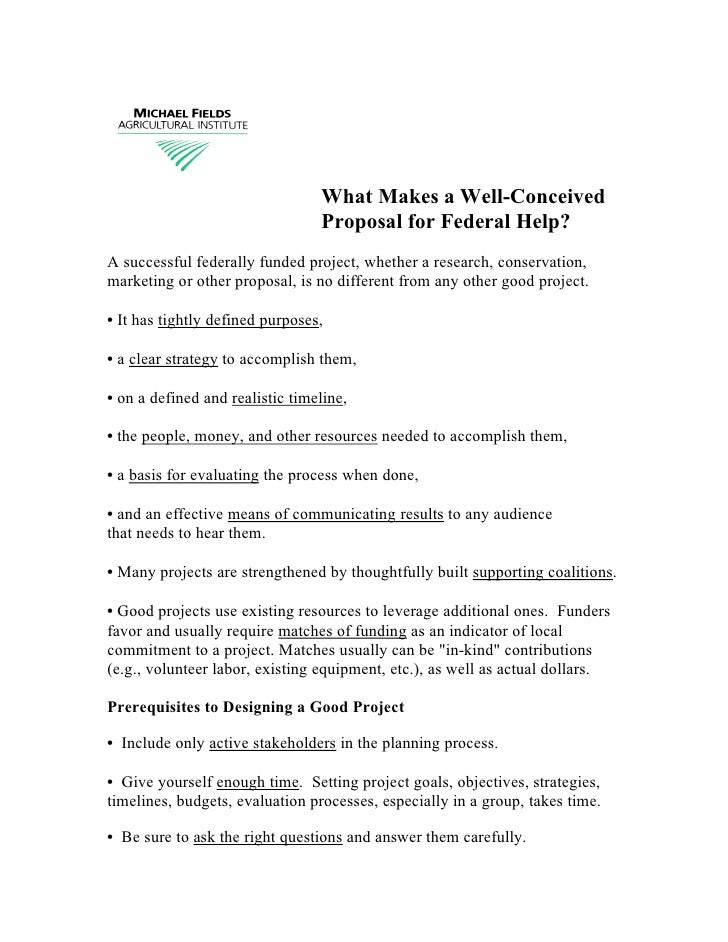 What Makes a Well-Conceived                                  Proposal for Federal Help? A successful federally funded proj...