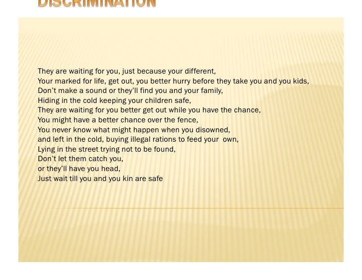 Discrimination poems