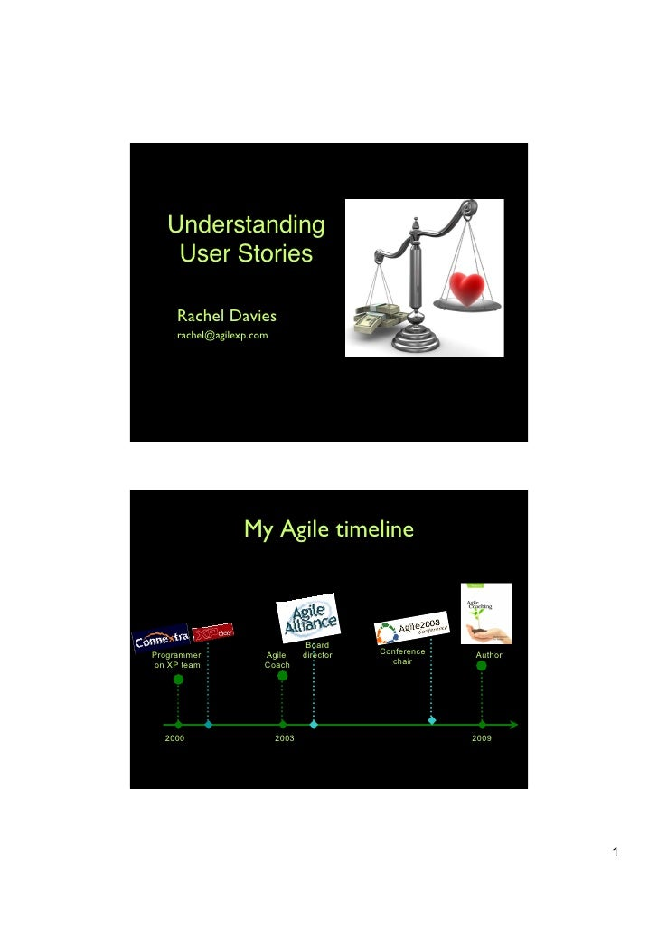 Understanding    User Stories     Rachel Davies     rachel@agilexp.com                  My Agile timeline                 ...