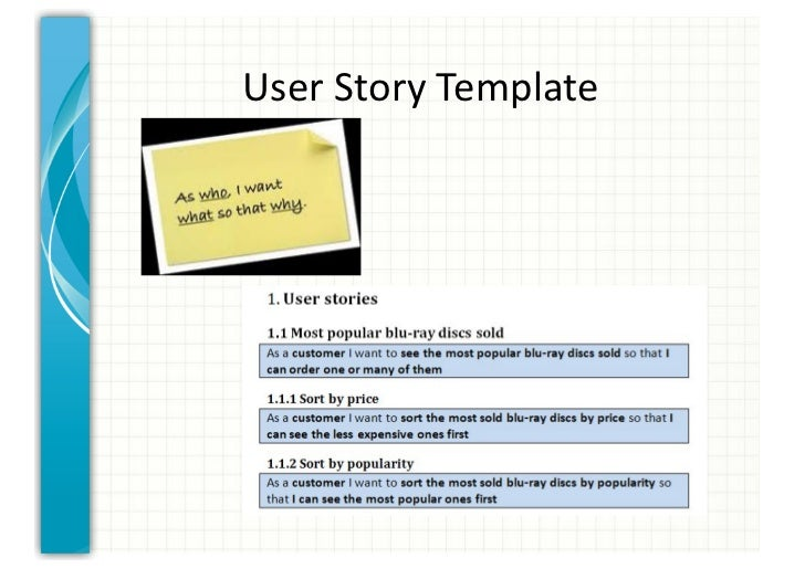 User story template cyberuse for Scrum user stories template