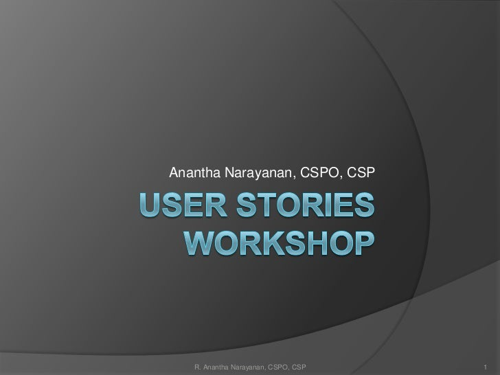 User Stories Workshop For Agile Product Development
