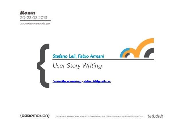 User stories writing   - Codemotion 2013
