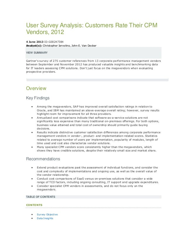 User survey analysis customers rate  their CPM vendors, 2012 Gartner
