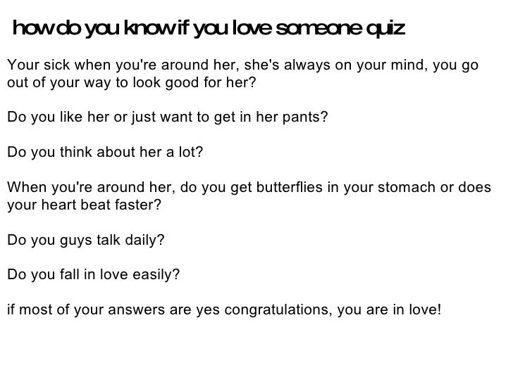 How Do You Know That You Love Someone