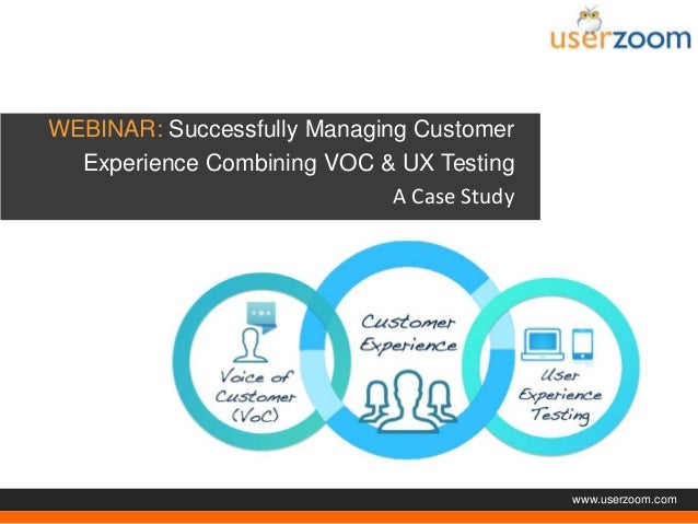 Agenda  WEBINAR: Successfully Managing Customer Experience Combining VOC & UX Testing A Case Study  www.userzoom.com