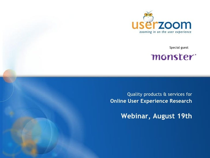 Userzoom Webinar Monster Aug09