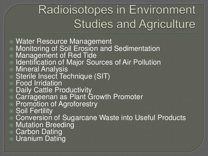 Use of radioisotopes in dating