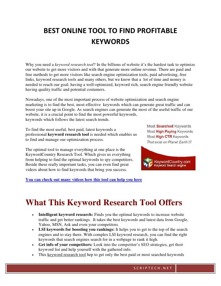 BEST ONLINE TOOL TO FIND PROFITABLE                       KEYWORDSWhy you need a keyword research tool? In the billions of...