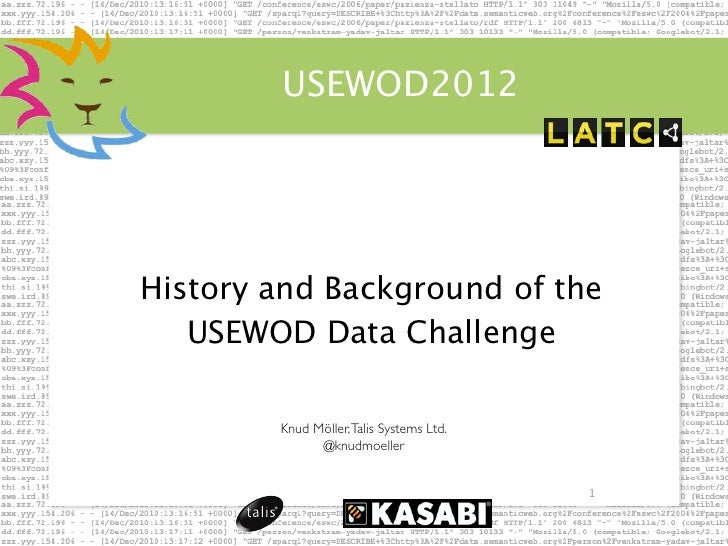 USEWOD2012History and Background of the   USEWOD Data Challenge        Knud Möller, Talis Systems Ltd.              @knudm...