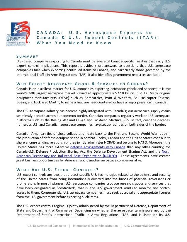 U.S. Aerospace Exports to Canada and Export Controls