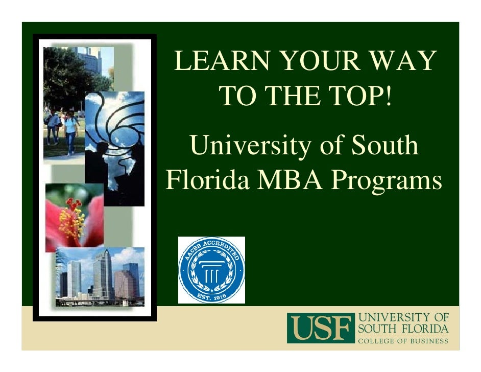 LEARN YOUR WAY   TO THE TOP!   University of South Florida MBA Programs