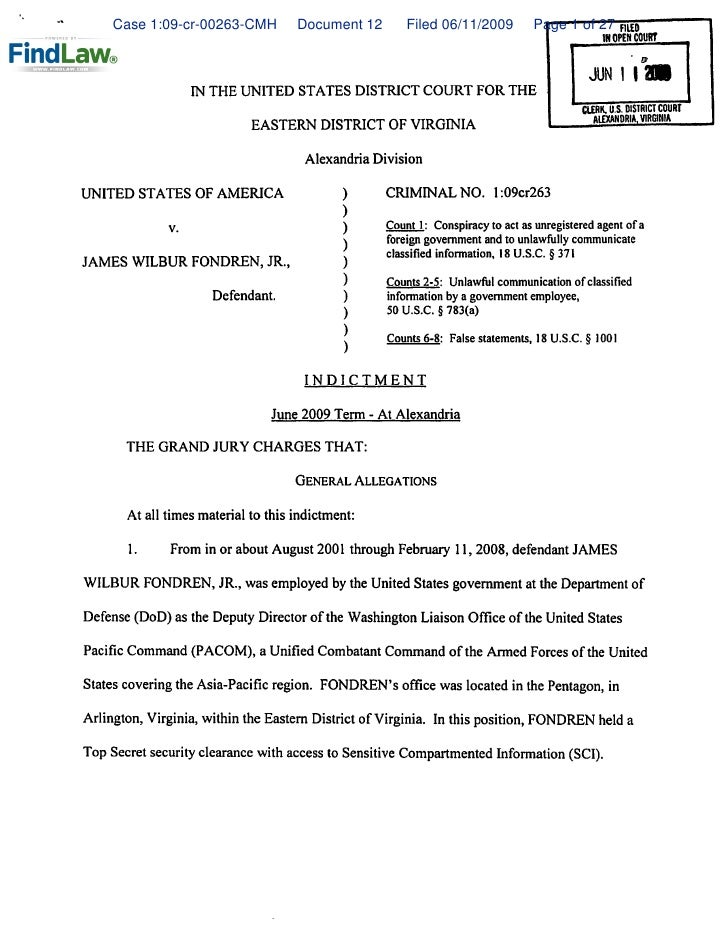 Case 1:09-cr-00263-CMH          Document 12        Filed 06/11/2009          Page 1 of 27 FllEO                           ...